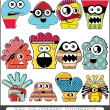 Stock Vector: Twelve colorful monsters