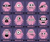 Set of twelve monsters — Stock Vector