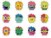Twelve colorful monsters — Stock Vector