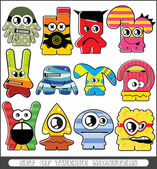 Twelve colorful monsters — Stock Vector