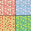 Set of four Colorful decorative elements - seamless pattern — Vettoriali Stock