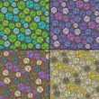 Set of four Colorful decorative elements - seamless pattern — Stock vektor