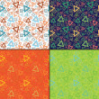 Set of four Colorful decorative elements - seamless pattern — Imagen vectorial