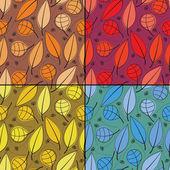 Sada čtyř barevných dekorativních prvků - bezešvé pattern — Stock vektor