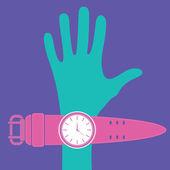 手と時計 — ストックベクタ