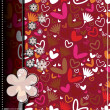 Colorful hearts and flowers - seamless pattern — Stock vektor