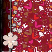 Colorful hearts and flowers - seamless pattern — ストックベクタ