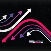 Flechas coloridas abstractas sobre fondo grunge — Vector de stock