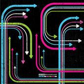 Abstraktní barevné šipky na pozadí grunge — Stock vektor