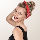 Classic retro style portrait of young blonde pin-up girl — Stock Photo