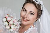 Bride with wedding bouquet — Stockfoto