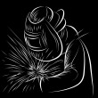 Welder Scratchboard Style - Image vectorielle
