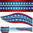 Patriotic USA Flag Banners — Stock Vector