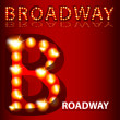 Royalty-Free Stock Vector Image: Theatrical Lights Broadway Text
