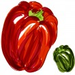 Red Green Bell Peppers — Stock Vector