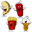 Fast Food Treat Cartoon Mascots - Stock Vector