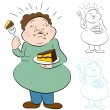 Stock Vector: Eating Too Much Cake