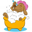 Dog Taking a Bubble Bath - Stock Vector