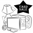 Yard Sale Items — Stock Vector