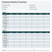 Employee Timesheet Template — Stock Vector