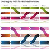 Overlapping Workflow Business Processes — Stock Vector