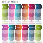 Stock Market Sectors Arrow Flow Chart — Stock Vector