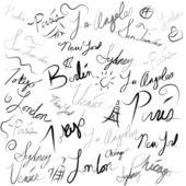 Emplacement de voyage écriture doodle — Vecteur