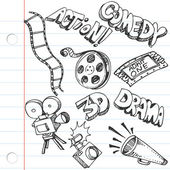 Notebook Paper Entertainment Doodles — Vector de stock