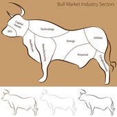 Bull Market Industry Sectors — Stock Vector