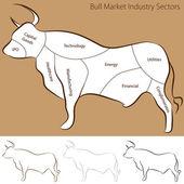 Bull Market Industry Sectors — Stock Vector