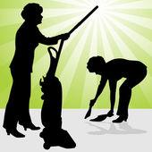 Senior Woman Using Vacuum and Dust Pan — Stock Vector