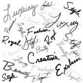 El yazısıyla yazılan kelimeler — Stok Vektör