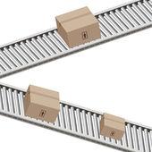 Conveyor Belt Boxes — Stock Vector