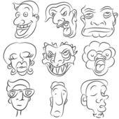 Cartoon Face Set — Stock Vector