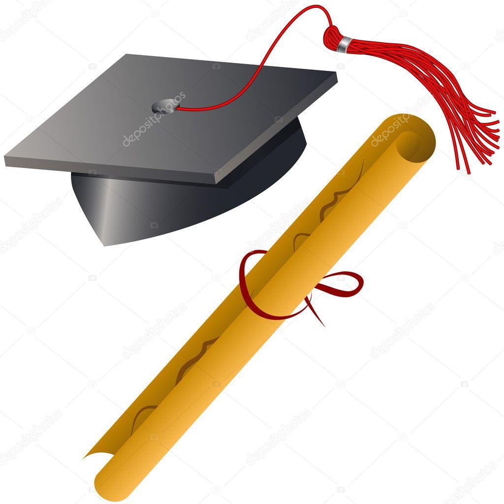 Graduation cap and diploma set stock illustration
