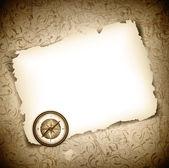 Vinatge antique compass at burned paper — Stock Vector