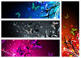 Butterfly floral banner collection — Stock Vector