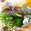 Aroma spice and greens — Stock Photo