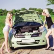 Two sexy blonde girls stand by the broken car — Stockfoto
