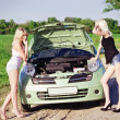 Two sexy blonde girls stand by the broken car — Stock Photo