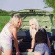 Two sexy blonde girls stand by the broken car. Rear view — Stock Photo