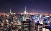 New York City Manhattan skyline at night — Stock Photo