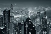 Hong Kong at night in black and white — Stockfoto