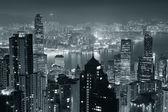 Hong Kong at night in black and white — Stock Photo