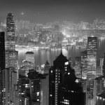 Hong Kong at night in black and white — Stock Photo #11684487