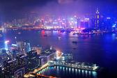 Hong Kong aerial night — Stock fotografie
