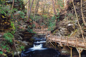 Autumn creek with hiking trails and foliage — Stock Photo