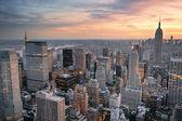 Atardecer de la ciudad de nueva york — Foto de Stock