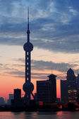 Shanghai morning silhouette — Stock Photo