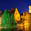 View from the Rozenhoedkaai of the Old Town of Bruges at dusk — Stock Photo